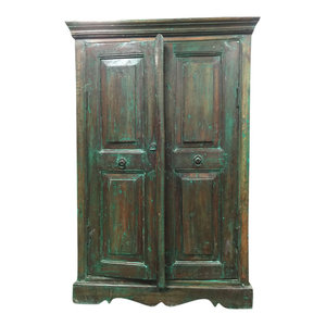 Mogul Interior - Consigned Antique Reclaimed Wood Green Armoire Storage - Armoires And Wardrobes