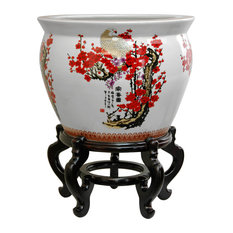 "12"" Cherry Blossom Porcelain Fishbowl"