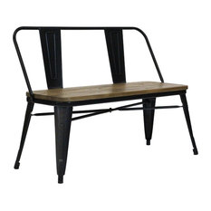 Tucker Matte Black Dining Benches, Set of 2