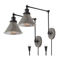 Double Section Wall Lamp With Ancient Silver/Black