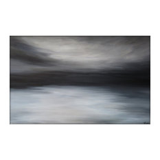 Large Abstract Painting on Canvas Modern Acrylic Skyline- 30x48- White, Browns