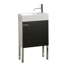 Iotti - Space Saving Bathroom Vanity Set With Ceramic Sink, Wenge -  Bathroom Vanities and