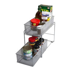 Silver 2 Tier Mesh Sliding Pantry Closet Spice And Sauces Organizer Drawer