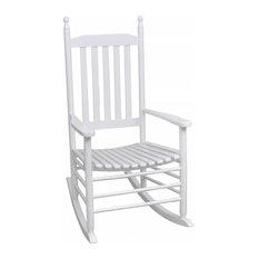 vidaXL Wood Rocking Chair White Curved Seat