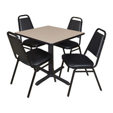 Cain 30-inch Square Breakroom Table- Beige & 4 Restaurant Stack Chairs- Black