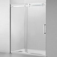 """WoodBridge 44-48""""x76"""" Frameless Sliding Shower Door, Chrome"""