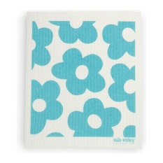 - Swedish Dishcloth Blommer Flowers, Turquoise - Dish Towels