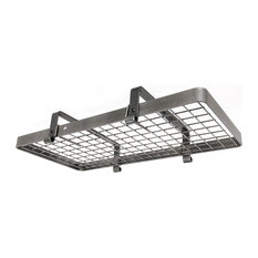 Low Ceiling Rectangle With Grid, Hammered Steel