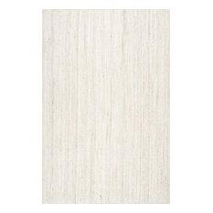 nuLOOM Hand Woven Jute and Sisal Rigo Area Rug, Off-White, 3'x5'