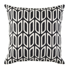 Surya Modern Cotton Black and White Accent Pillow, 18  x18