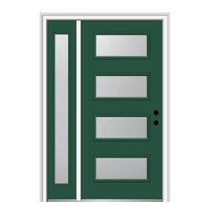 """53""""x81.75"""" 4-Lite Frosted Left-Hand Inswing Fiberglass Door With Sidelite"""