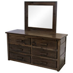 Midwest Farmhouse - Rustic Farmhouse 6-Drawer Dresser With Mirror - Our Rustic Farmhouse collection is built from, dried, hand selected rough cut lumber and handcrafted to create a unique look of reclaimed farmhouse style. Our Rustic Farmhouse collection is made from 100% solid wood and finished with our custom stain and finished to create functional furniture that looks great in rustic and urban settings.