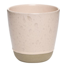 Raw Speckled Stoneware Mugs Without Handles, Nude, Large, Set of 2