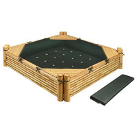 Bamboo Beach Sandbox With Liner and Cover, Natural/Green