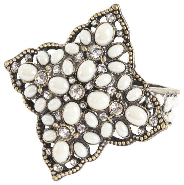 Jeweled White Stone & Gold Napkin Rings Set of 4