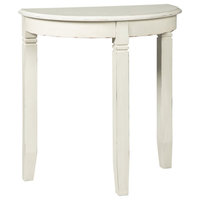 Wooden Half Moon Shaped Console Table with Tapered Legs Support, White