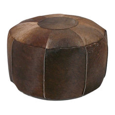Serene Spaces Living Brown Cowhide Leather Pouf
