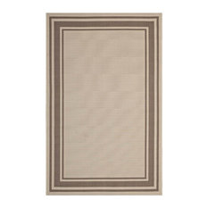 Solid Border Borderline Area Rug in Light and Dark Beige (7.54 ft. L x 5.25 ft.