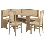 Furniture Agency - Breakfast Nook 4-Piece Corner Dining Set, Natural OAK - The Breakfast Nook 4-piece corner dining set offers a full bench to accommodate up to four dinner guests, a beautiful rectangular table, and two bonus chairs. The product is an exceptional choice for smaller dining areas or eat-in-kitchens. It boasts a combination of colors that enables you to compliment any color scheme or room design easily. It is a convenient choice for brunch and a comfortable space for casual dining. The cushions are also easy to clean, and the set is a terrific choice for consumers with small children.