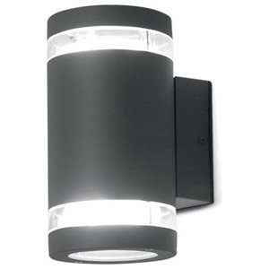 Contemporary Up and Down LED Wall Light With Clear Glass