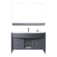"Ava 55"" Single Bathroom Vanity Set, Gray, Stone Countertop, Round Basin"