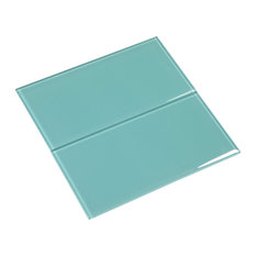 """6""""x12"""" Glass Subway Collection, Teal"""