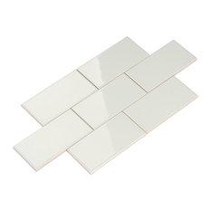 "3""x6"" Giorbello Ceramic Subway Tiles, Set of 120, Light Gray"