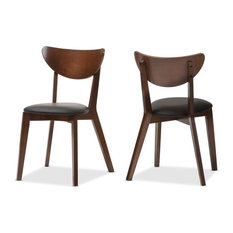 Baxton Studio - Sumner Faux Leather and Walnut Dining Chairs, Set of 2, Black/Walnut Brown - Dining Chairs
