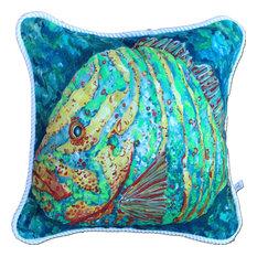 "Striped Grouper Pillow, 20"""