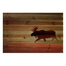 """Moosehead"" Print on Wood by Parvez Taj, 60x40 cm"