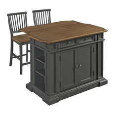 Pemberly Row Kitchen Island With 2 Stools In Gray