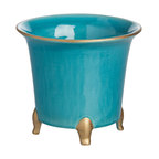 Jaipur Cachepot, Turquoise With Gold, Large