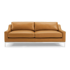 """Modway Harness 83.5"""" Stainless Steel Base Leather Sofa in Tan"""