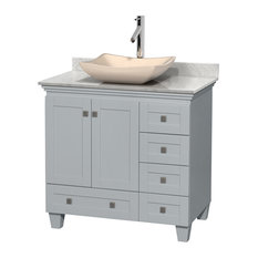 """Acclaim 36"""" Single Vanity, Oyster Gray, Carrera Marble Top, Avalon Ivory Sink"""