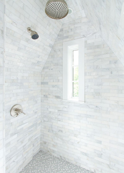Skylights and Glass Tile Transform Attic into to Spa-Like Bath