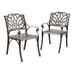 GDF Studio Fonzo Outdoor Bronze Cast Aluminum Dining Chairs, Set of 2