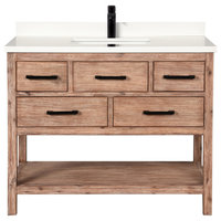 "Betty 42"" Bathroom Vanity, Weathered Brown Finish"