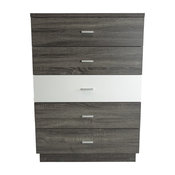 MB9306 Smart Home Glossy White and Distressed Gray 5 Drawer Chest Dresser