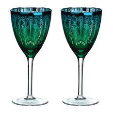 Set of 2 Peacock Wines by Artland