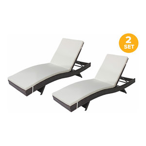 All-Weather Rattan Wicker Outdoor Patio Chaise Lounge Chairs, Set of 2, Brown