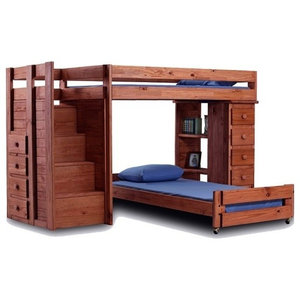 Hemet Xl Twin L Shaped Storage Loft Bed With Steps Transitional Bunk Beds By Totally Kids Fun Furniture Toys Houzz