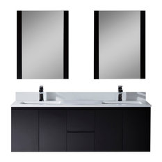 "Monaco 60"" Double Wall Mount Vanity Set With Mirror, Espresso"