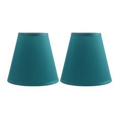 "Silk Empire Lamp Shade 5x9x8.5"", Set of 2, Teal"