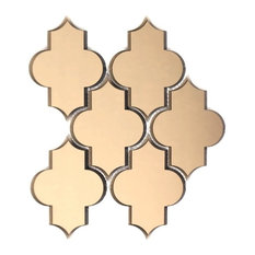 """Reflections 10.125""""x11.625"""" Gold Small Lantern Glass Mirror Wall Tile, Set of 10"""