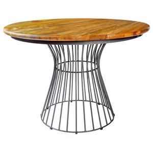Birdcage Mango Wood Dining Table, Curved Base