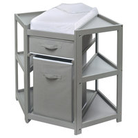 Diaper Corner Baby Changing Table with Hamper and Basket - Gray