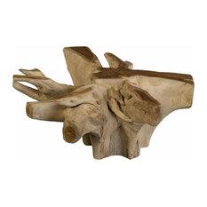 40-inchW Coffee Table Solid Teak Wood Free Form Organic Sculpture Dark Brown