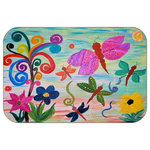 "Mary Gifts By The Beach - Dragon Fly Garden Plush Bath Mat, 20""x15 - Bath mats from my original art and designs. Super soft plush fabric with a non skid backing. Eco friendly water base dyes that will not fade or alter the texture of the fabric. Washable 100 % polyester and mold resistant. Great for the bath room or anywhere in the home. At 1/2 inch thick our mats are softer and more plush than the typical comfort mats.Your toes will love you."