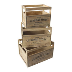 Wooden Storage Baskets With General Store Printing, Set of 3