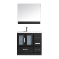 "Virtu Usa Inc. - Virtu USA Zola 36"" Single Square Sink Espresso Top Vanity In Espresso With Po... - Bathroom Vanities and Sink Consoles"